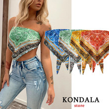 KONDALA Women Tank Geometric Bow Tank Top Sexy for Womens Bohemian Short Shoulder Backless Crop Tops