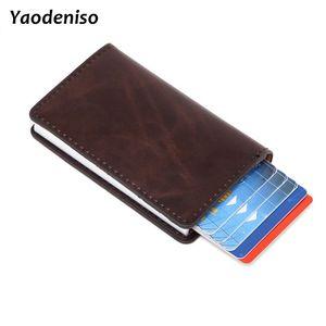 Hommes Vintage huile cire cuir crédit porte-carte bloquant Rfid portefeuille en cuir unisexe sécurité Information aluminium métal sac à main
