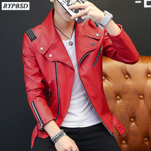 PU Mens Leather Jacket Classic Design New 2020 Fashion Red White Black Autumn Sl
