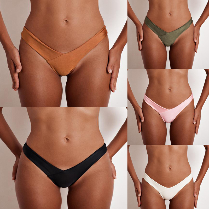 Wavaiov 2019 New 100% Cotton Thong Women's Panties Underwear Women Solid Briefs Slim Sexy Lingerie Low Waist Lingerie G-string