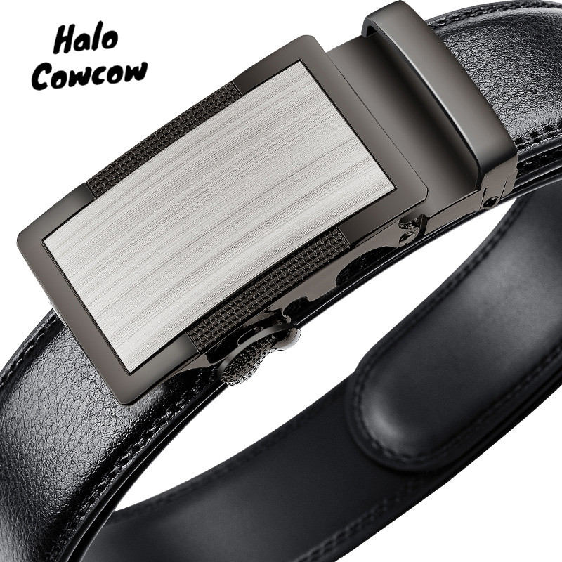 95 110 170cm Big Size Men Automatic Buckle Belt For Jeans Fashion Business Pure Leather Belt Male Genuine Leather Luxury Belt