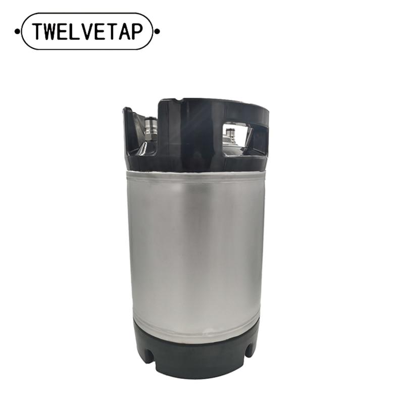 2.5 Gal Beer Keg Rubber Handle Barrel Stainless Steel Homebrew Growler Leak Proof Top Lid Beer Bucket 9.5L  Ball Lock Type