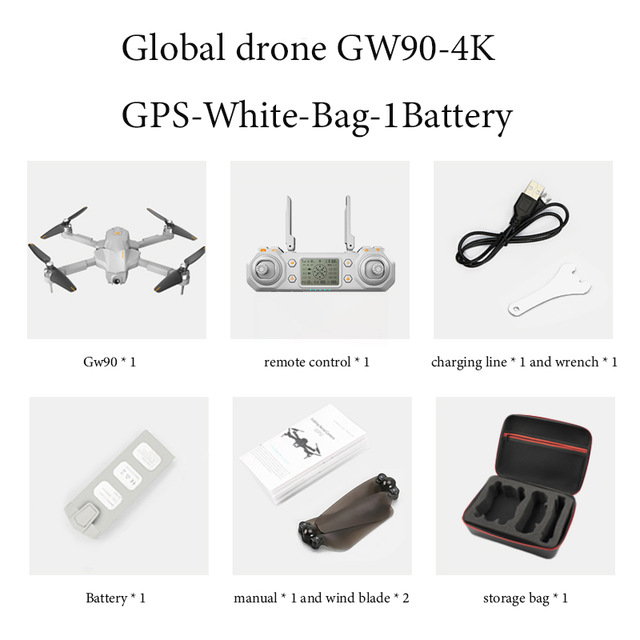 2020 New Global Drone Gw90 With 4k Gps Drone Aerial Photography Hd Professional Ultra-long Battery Life Four-axis Folding Drone