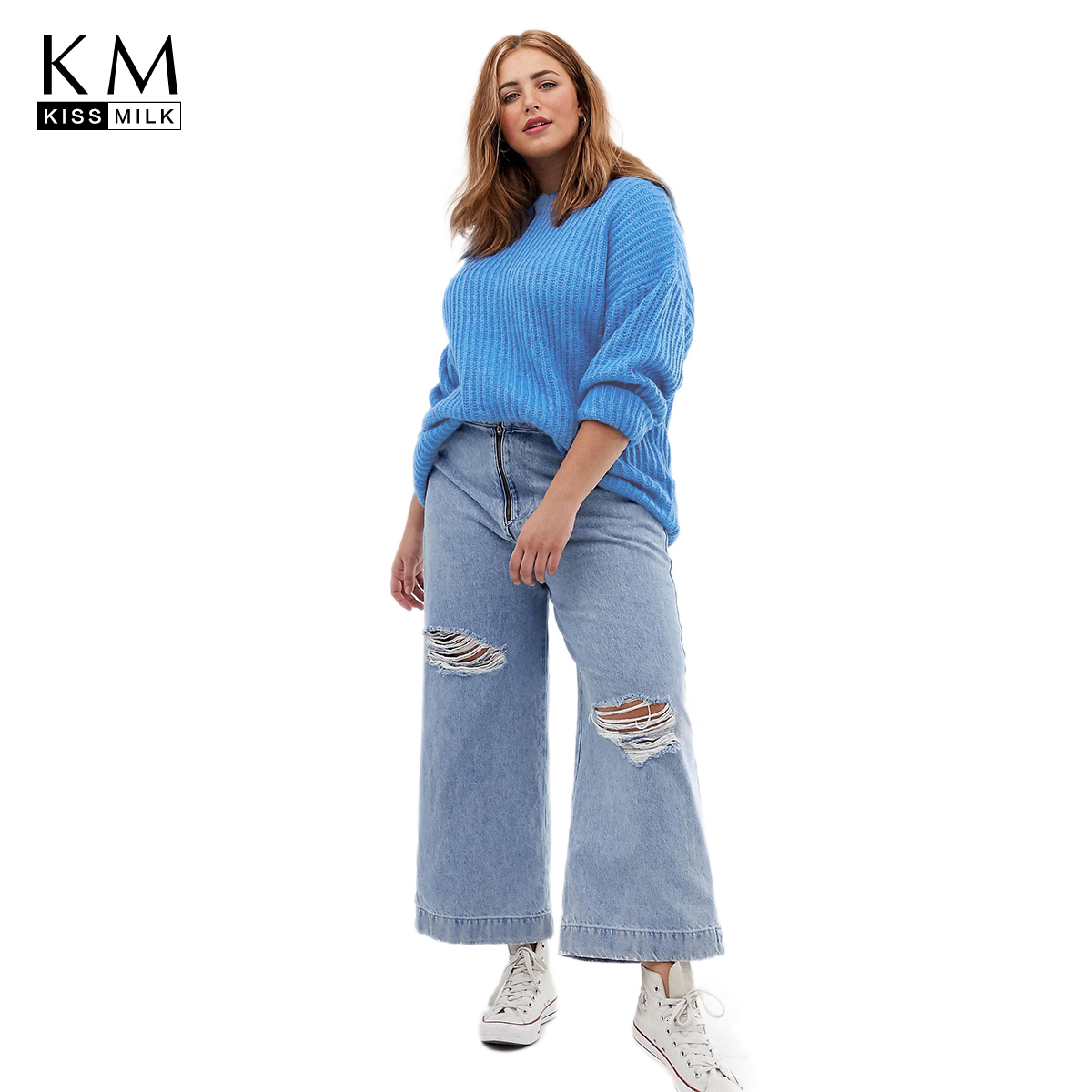 Kissmilk Plus Size Woman Clothes Simple Wind Down Shoulder Warm Long Sleeve Pullover Sweater