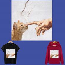 Patchs sensibles à la chaleur chat mignon à rayures, autocollants thermo appliqués sur vêtements, fer sur transferts pour hauts, tops de patch personnalisés
