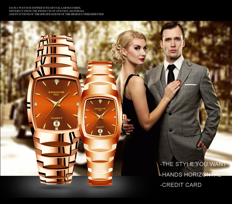 Montres de Couple à Quartz mode décontracté Bracelet en acier tungstène
