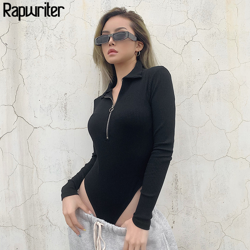 Rapwriter Casual Turn-down Collar Ribben Ring Zipper Knitted Bodysuit Women 2019 Autumn Winter Long Sleeve Open Crotch Bodysui