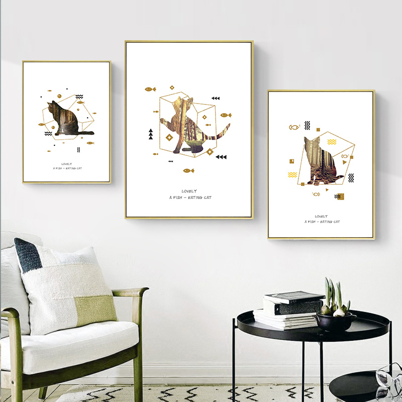 Custom Cat Back Painting Posters And Prints Wall Art Canvas Painting Wall Pictures Baby Kids Room Decor