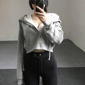 Zip-up autumn women hoodies pockets slim crop jacket female clothes drawstring sexy hoody cotton coats