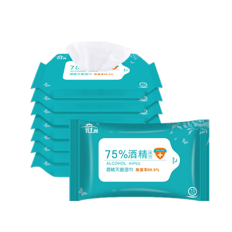 A Pack With 10 Pics Of 75% Ethanol Alcohol Sterilized Wet Paper Towels Portable Alcohol Paper  Disinfection Alcohol Wipes
