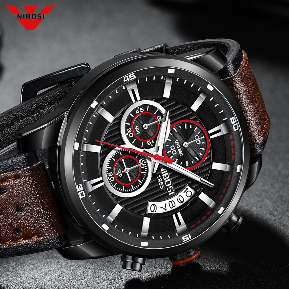 NIBOSI Men Watch Top Brand Gold Leather Chronograph Waterproof Sport Automatic Date Quartz Watches For Mens Relogio Masculino