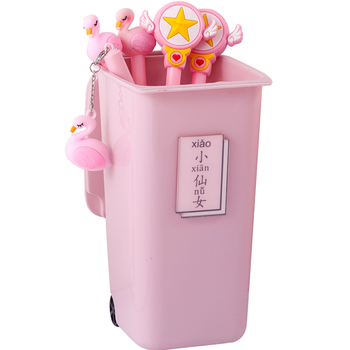 Creative trash can shape desktop storage box with lid desk plastic storage box makeup organizer cute pen box for girls new gifts creative home cartoon frog shape plastic small desktop trash green