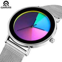 CAINUOS Simple Watch Slim Case Stainless Steel Mesh Band Watches Ultra thin Luxury Brand Business Men Quartz Watch Clock Male