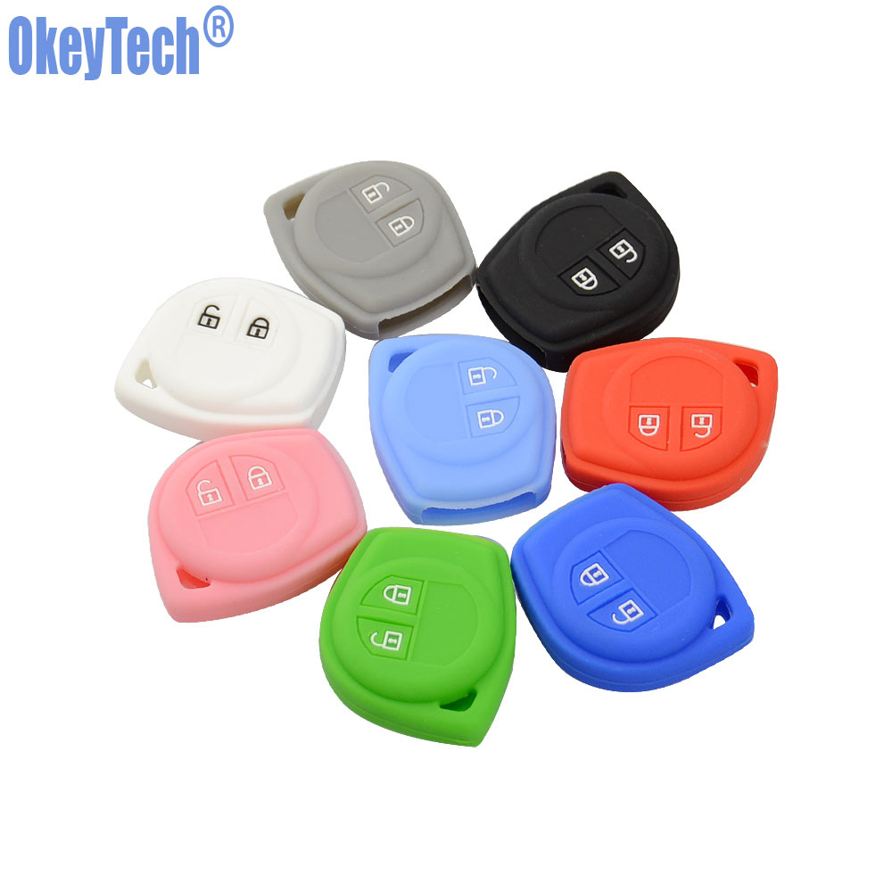 OkeyTech Silicone Rubber 2 Button Car Remote Key Fob Case Protect Cover For Suzuki SX4 Swift Vitara Key Shell Holder Accessories