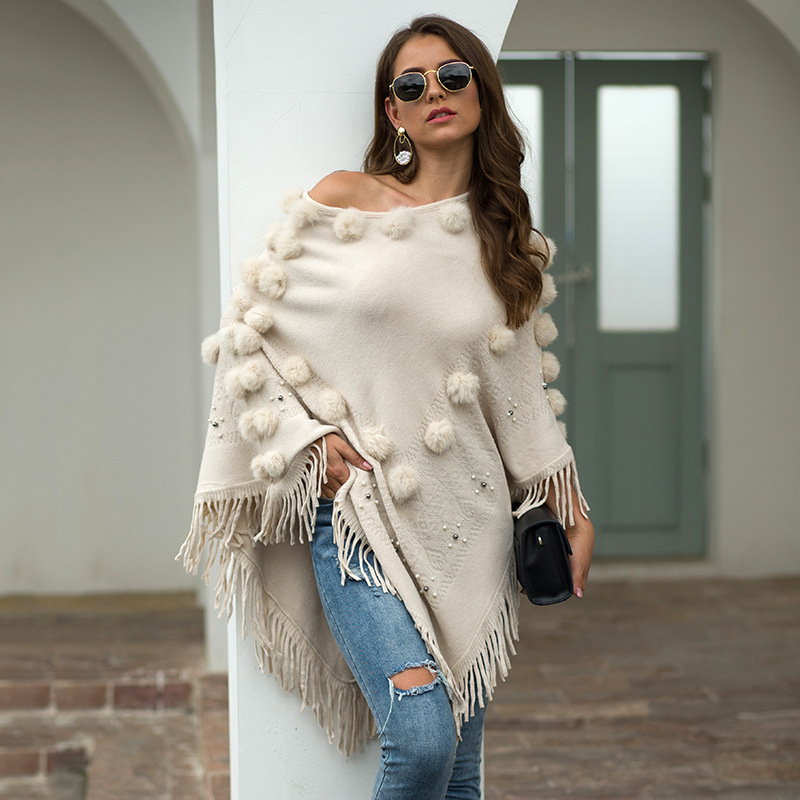 Women's Ponchos And Capes накидка женская пончо Cloak Winter Knitted Cashmere Poncho Capes Shawl Tassel Cardigans Sweater
