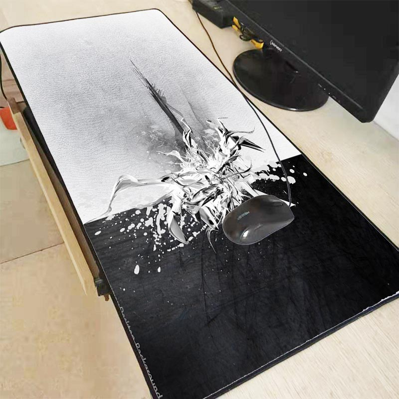 Mairuige Personality Black And White Large Gaming Mouse Pad PC Computer Gamer Mousepad Desk Mat Locking Edge For CS GO LOL Dota