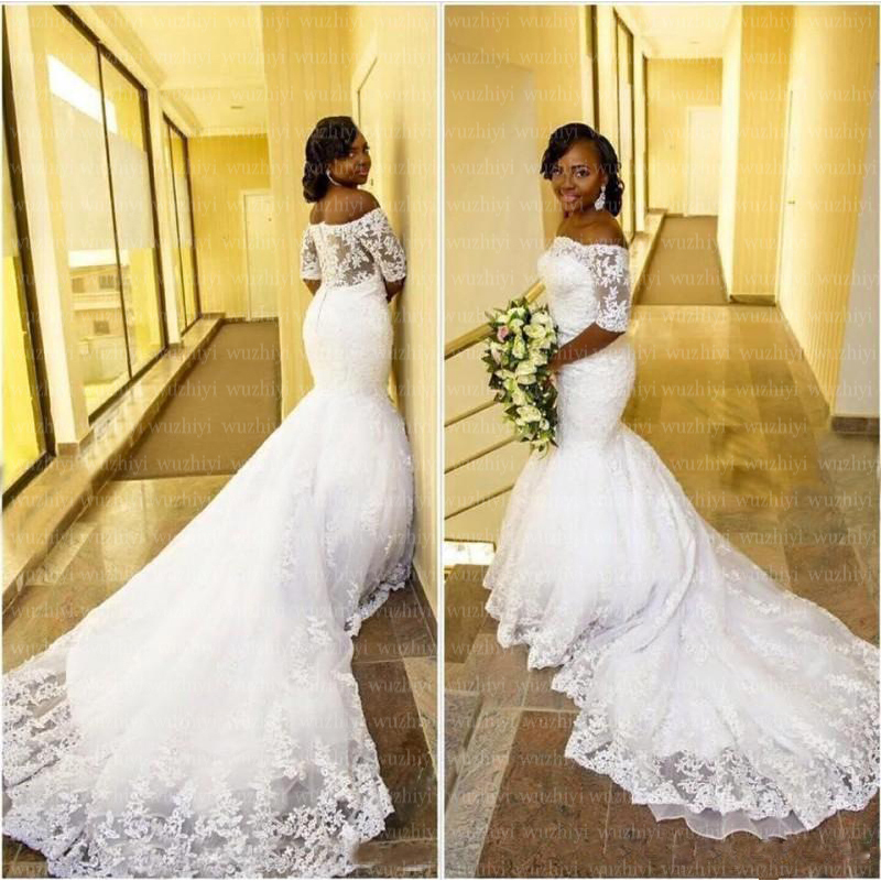 Wuzhiyi 209 Mermaid Wedding Dress Long Train Off The Shoulder Vestido De Noiva Half Sleeves African Wedding Dress Zipper Back