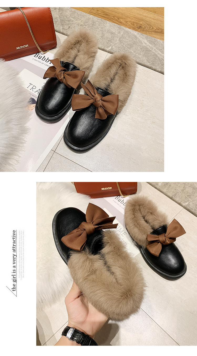 2019 winter long plush warm fur shoes bow tied decorate slip-on leather bullock shoes woman anti-skid chunky leisure espadrilles 58