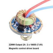 Circuit imprimé de pilote de commande magnétique 5 modes 22MM 2A 7.4V, pour 2 batteries T6 U2 L2 XPL 18650, torche de lampe de poche de plongée