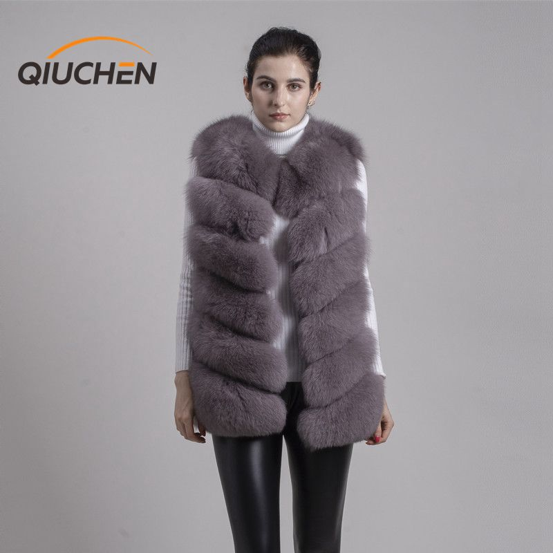QIUCHEN PJ8049 2019 Hot Sale real Fox Fur Vest Authentic Fashion Perfect With High Heels Quality Solid