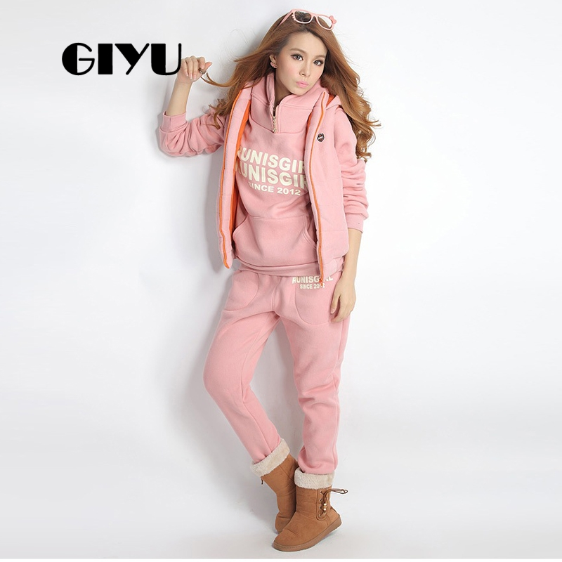 GIYU 6XL Big Size Letter Printed Women 3 Pieces Sets Tracksuits Hooded Sweatshirt Casual Long Pants Overalls Ensemble Femme