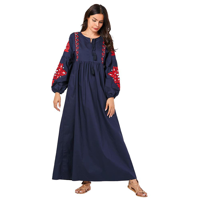 New Women Abayas For Women Ethnic Embroidered Long-Sleeved Muslim Casual Long Dress Caftan Marocain Muslim Dress Women SL1517