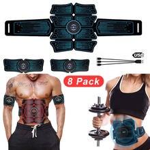Stimulateur musculaire et abdominal pour entraînement à domicile,appareil intelligent sans fil, avec connexion USB, lot de 8 paquet, équipement ABS pour hanche et muscles,