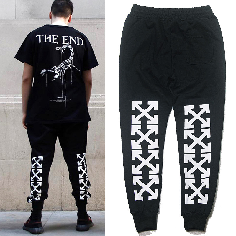 Popular Brand Wu Yifan Celebrity Style Off White Beam Leg Casual Sports Pants Online Celebrity Men And Women Sweatpants Fashion