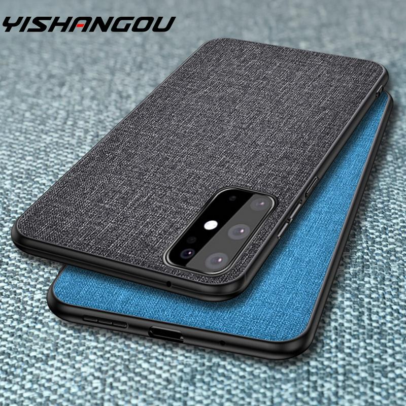 Luxury Fabric Cloth Phone Case For Samsung Galaxy S20 Ultra A51 A71 A50 Note 10 Plus Slim Soft Bumper Hard PC Back Skin Cover image