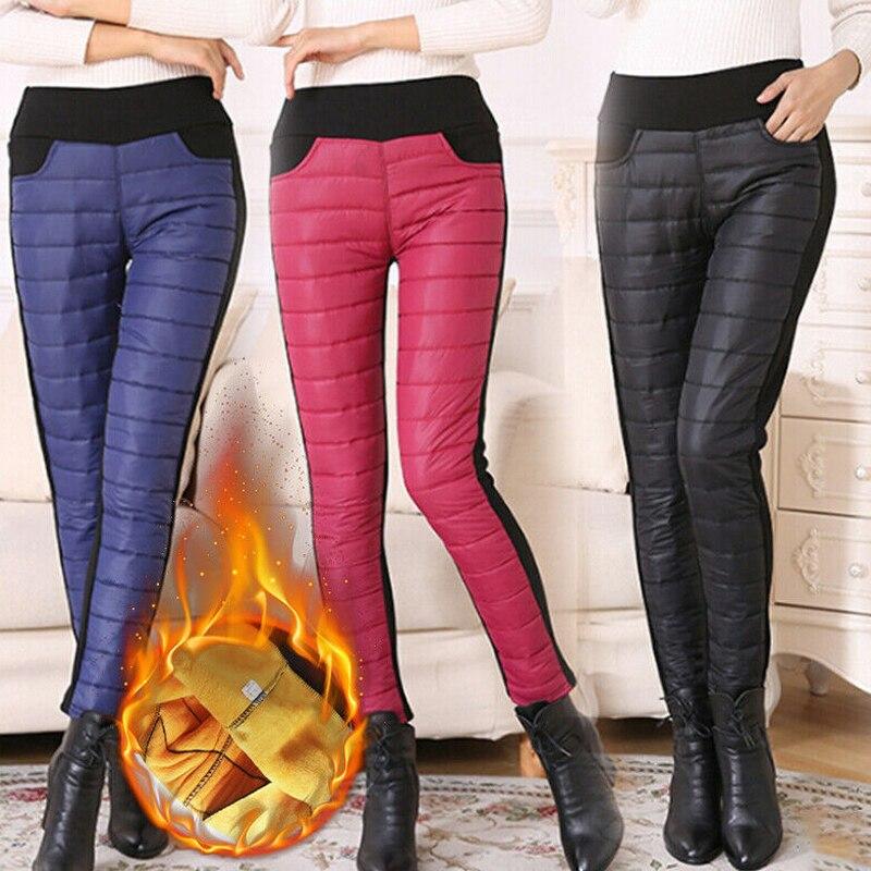 Women Trousers Winter High Waist Slim Warm Thick Duck Down Legging Pants Skinny Outdoor GDD99