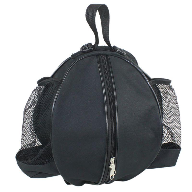 Round Backpack Adjustable Zipper Shoulder Strap Storage Bag For Football Basketball With Handle And Water Bottle Pockets