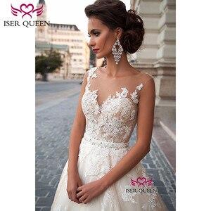Image 3 - Sexy A Line Lace Wedding Dress  Romantic Robe De Mariage vestido de noiva Sheer Neck Illusion elegant Wedding Dresses W0047