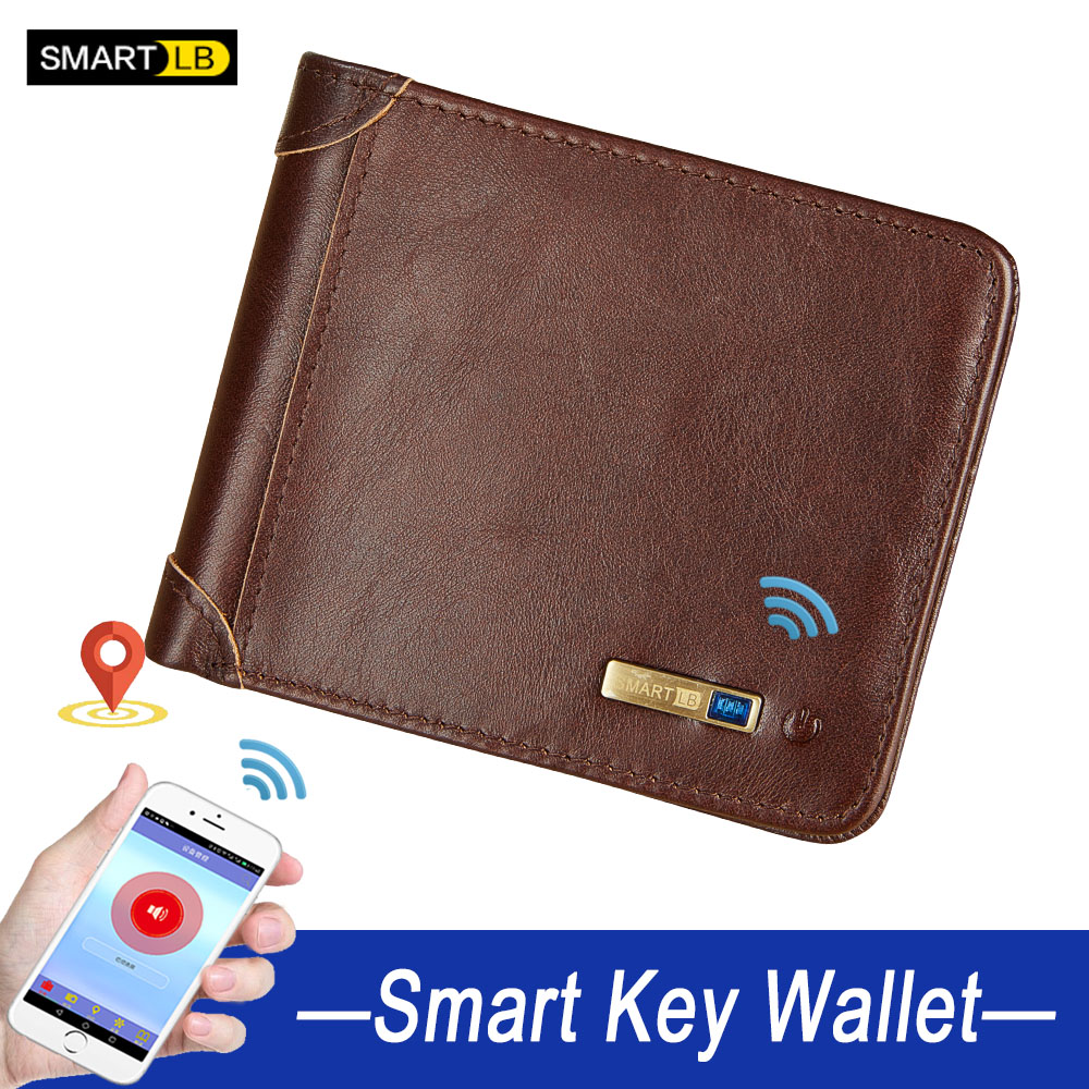 fathers day gifts Smart wallet man anti-lost genuine leather men high quality short wallets Multi-functional purses men's purse