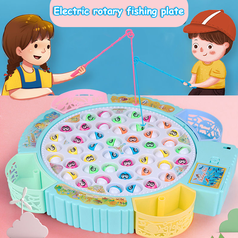 Kids Fishing Toys Electric Music Rotating Catch Magnetic Fish Set Gift Outdoor Sports Toys For Children Gift Fishing Toys