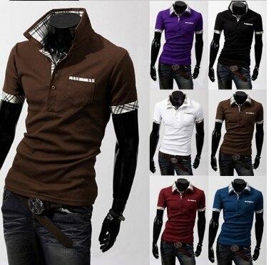 Summer Fashion Casual Men Polo Shirt Solid Color  Polos Para Hombre Cotton Short Sleeve Polo Shirt Plaid Stitching Men Clothes