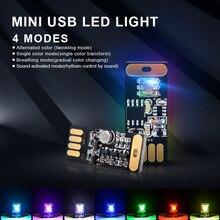 2pcs/lot 7 colors Car Mini USB LED Atmosphere Lights Decorative Lamp Emergency Lighting Universal PC Portable Plug
