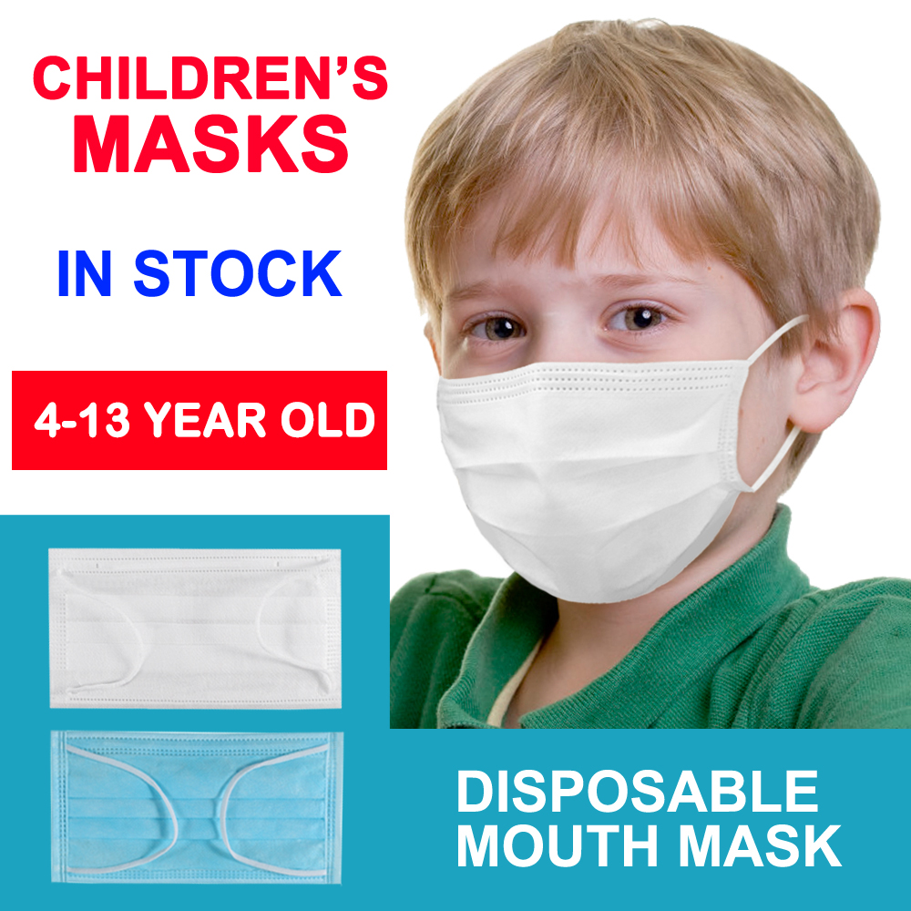Child Mask 3 Layers Disposable Mouth Mask Anti-Dust Elastic Kids Mask Soft Breathable Flu Hygiene White Facial Masks