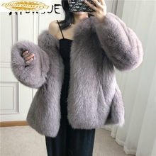 Echt Pelzmantel Frauen Kleidung 2019 100% Fuchs Pelz Mantel Frauen Korean Fashion Herbst Winter Mantel Frauen Manteau Femme YY1911(China)