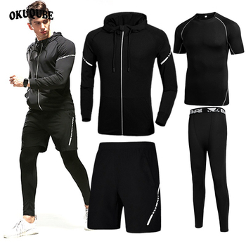 Reflective Men Sportswear Elastic Hooded  Gym Clothes Man Jogging Running Training Fitness Clothing Black Gray Running Sets Male