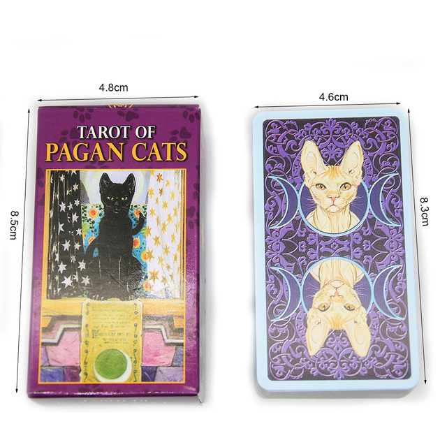 Tarot of Pagan Cats Cards 78 Full-Color Cards Mini Deck Five Languages English Spanish Tarot Divination Beginner Toy Game 5