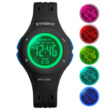 SYNOKE Childrens Watches 2019 Children Watch Led Sports Kids 50M Waterproof Silicone strap Alarm Colorful Dial Shipping
