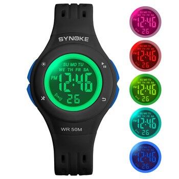 SYNOKE relojes para niños 2019 Relojes Led deportivos para niños relojes de silicona a prueba de agua 50M alarma con esfera colorida