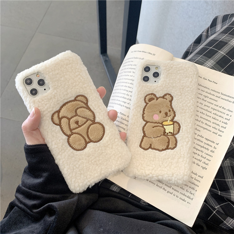 Warm Lamb plush fabric Phone Case For iphone 11 Pro Max 6 6s 7 8 plus Cute Little bear Fuzzy Soft Case For iphone X XR XS Max