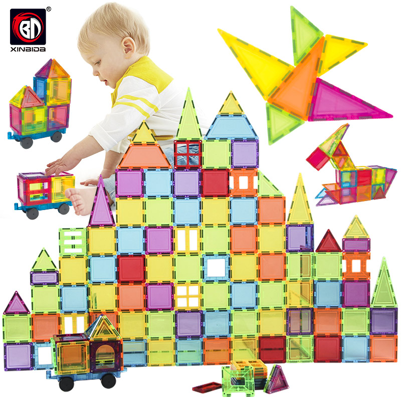 18-56PCS Big Size Transparent Magnetic Designer Construction & Building Toy Solid 3D Magnets Magnetic Blocks Toys For Children