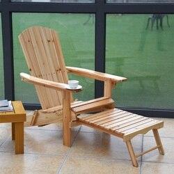 Patio พับไม้ Adirondack เก้าอี้เท้าสตูล FIR ไม้เก้าอี้อาบแดด Chaise Lounge HW56973