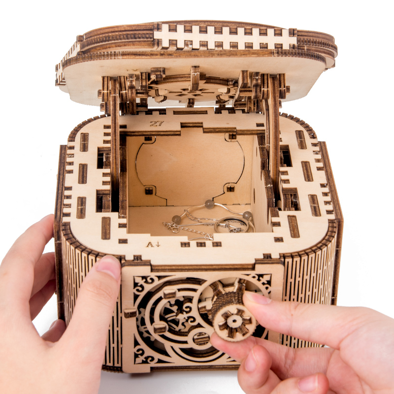 Puzzle 3D Toys DIY Model Teens Wooden Puzzles Game Ladys Girls Decorative Mechanical Transmission Storage Jewelry Box Assembled
