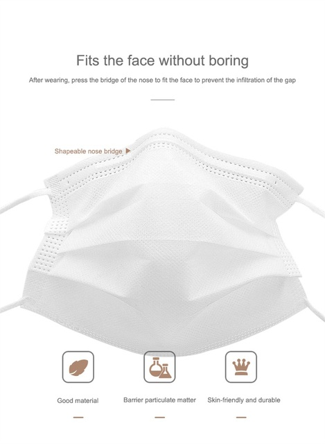 100PCS Disposable Medical Mask Non Woven Anti-dust Mouth Face Surgical Masks Safe 3-Ply Breathable Protetive Mask White/Blue 2