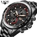 Новинка 2019  LIGE  модные мужские часы с нержавеющей сталью  Топ бренд  роскошные спортивные кварцевые часы с хронографом  мужские часы
