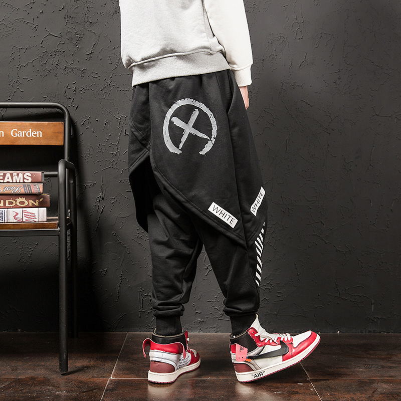 YASUGUOJI Men Hip Hop Punk Skirt Pants Fake Two Piece Joggers Leggings Mens Nightclub Stage Harem Pants Male Baggy Streetwear