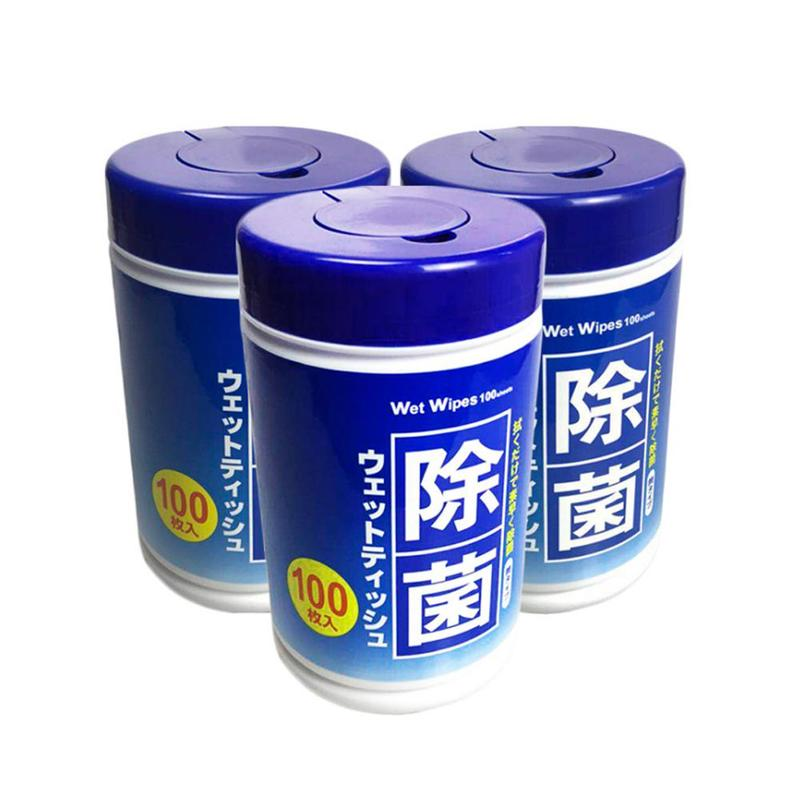 100Pcs/Bottle Disposable Wet Wipes Antibacterial Wipes 75% Alcohol Antiseptic Cleaning Sterilization Wipes Portable Wipes